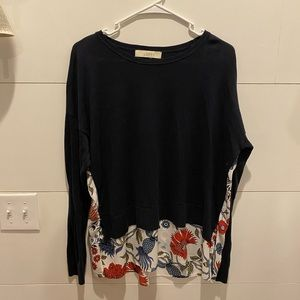 Loft Navy Sweater with printed back